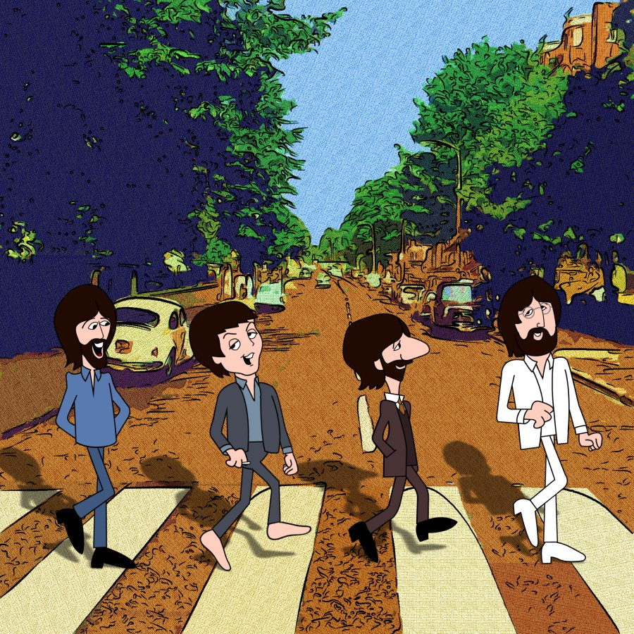 The beatles tv cartoon show - The simpsons abbey road wallpaper ...